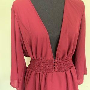 Torrid burgundy long sleeve sheer v-neck blouse